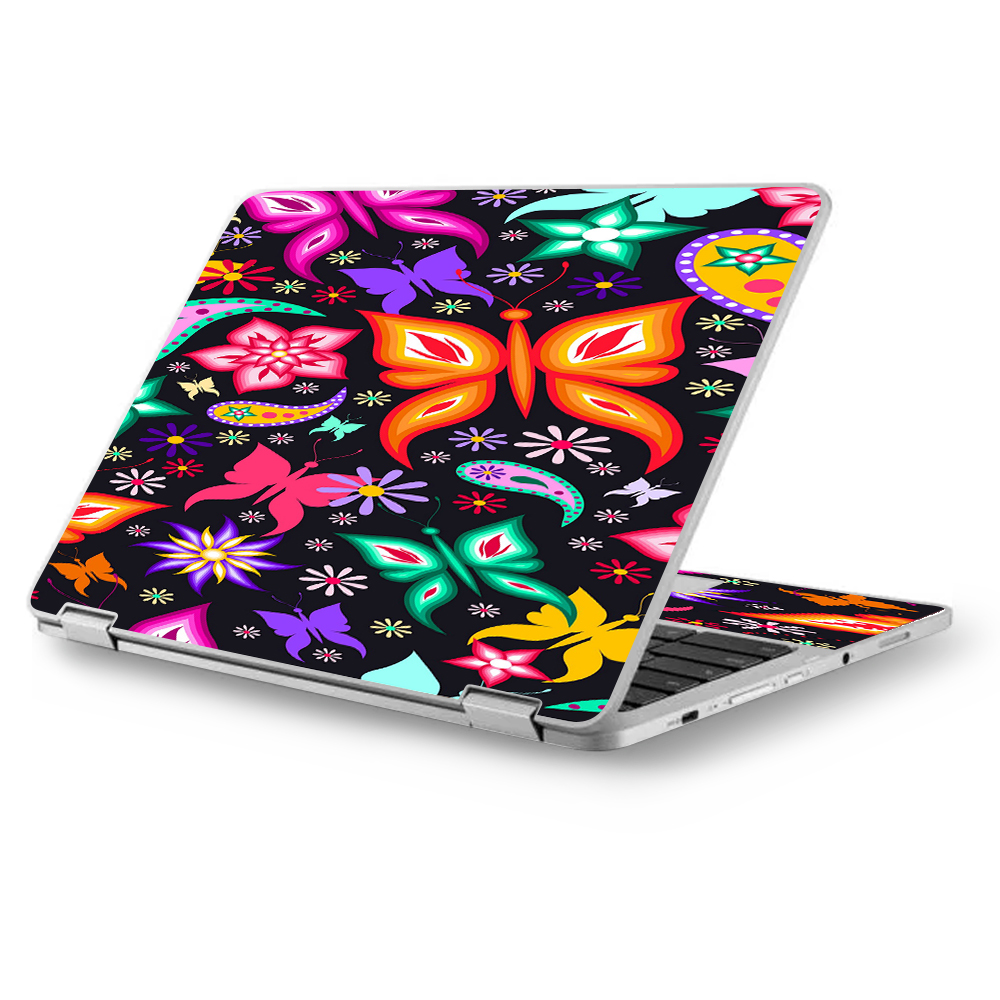 "Skins Decals for Asus Chromebook 12.5"" Flip C302CA Laptop Vinyl Wrap / Floral Butterflies"