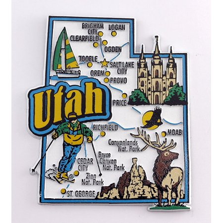 Utah State Map and Landmarks Collage Fridge Souvenir Collectible Magnet FMC (State Fridge Magnets)