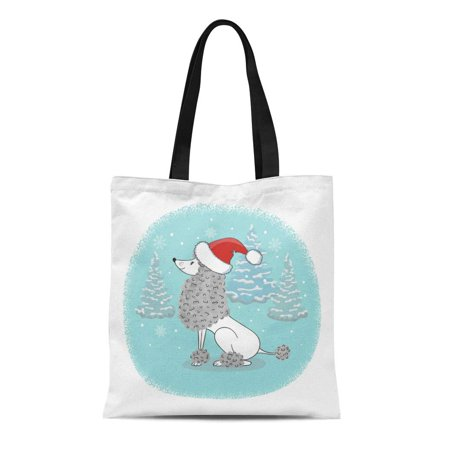 ASHLEIGH Canvas Tote Bag Blue Christmas Cartoon Poodle Dog in Santa Hat Holiday Reusable Shoulder Grocery Shopping Bags Handbag](Poodle Purses)