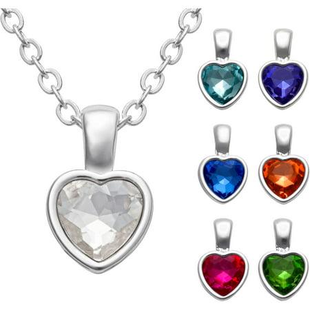 Womens Rhodium Plated 7 Piece Heart Pendant Set