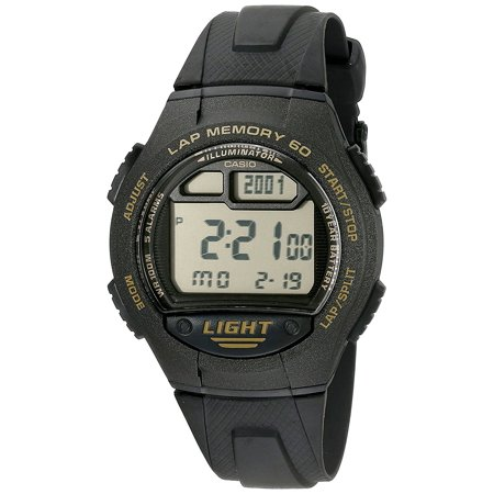 Strap Buckle Closure (Men's W734-9AV Classic Digital Sport Watch, Classic digital sport watch with a black resin case and strap with buckle closure )