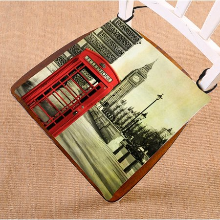 PHFZK City Chair Pad, Red Telephone Booth with the Big Ben Seat Cushion Chair Cushion Floor Cushion Two Sides Size 16x16 inches