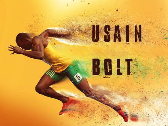 Usain Bolt Poster Running Fast Lightning Art Print 24x18 Walmart Com Walmart Com
