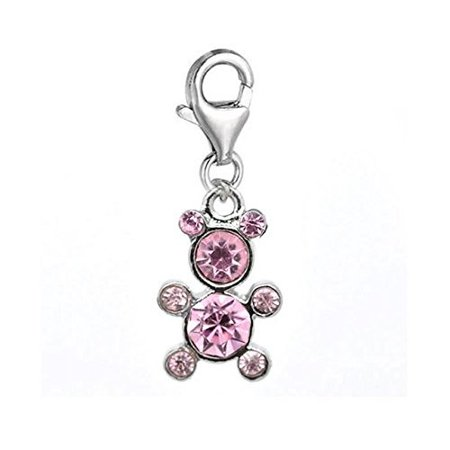 Clip on Teddy Bear Charm Pendant for European Clip on Charm Jewelry w/ Lobster Clasp