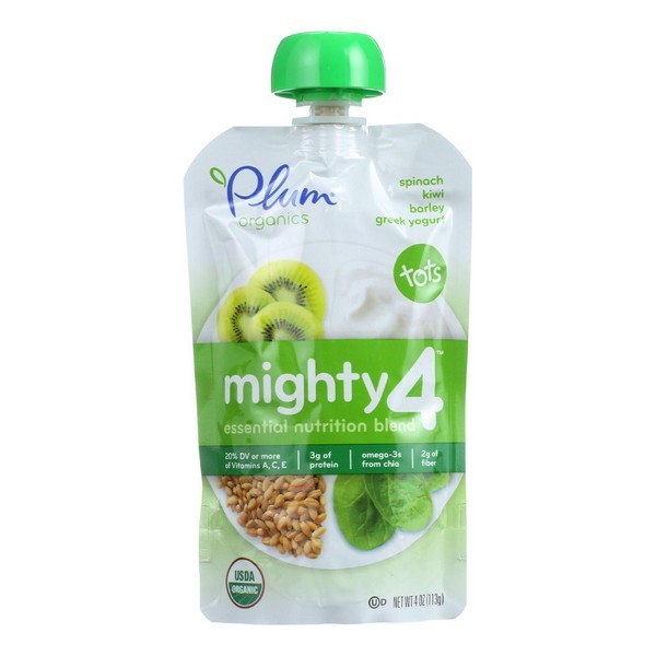 Plum Organics Essential Nutrition Blend - Mighty 4 - Spinach Kiwi Barley Greek Yogurt - 4 Oz - Pack of 6
