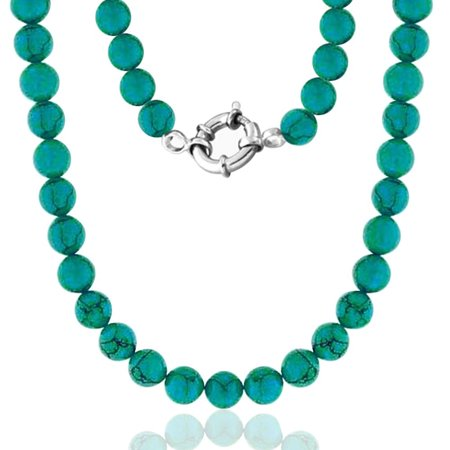 925 Sterling Silver 10mm Simulated Turquoise Bead Long Necklace 36in