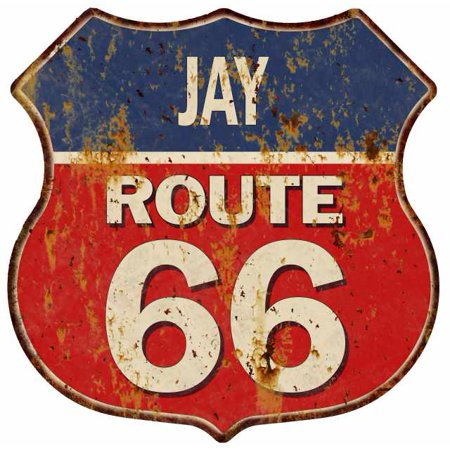 jay-route-66-personalized-shield-metal-sign-man-cave-red-211110005015 by chico-creek-signs
