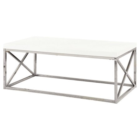 Monarch Coffee Table Glossy White With Chrome Metal ()