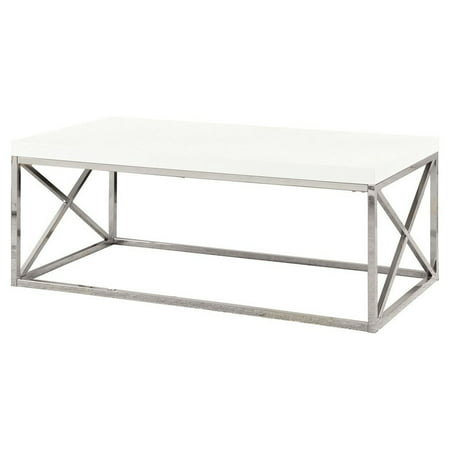 Monarch Coffee Table Glossy White With Chrome Metal