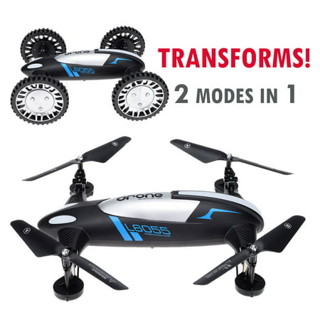 CyberTech 2 in 1 (Car and Fly) RC Racing Car RC Quadcopter Drone, RTF 2.4GHz 6-Gyro System, Support Headless flying mode,2 Li-Polymer Batteries included. WiFi camera and mobile Sold Separately