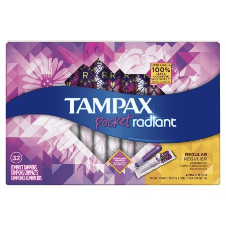 Tampax Pocket Radiant Compact Plastic Tampons, Unscented, Regular, 32 Count