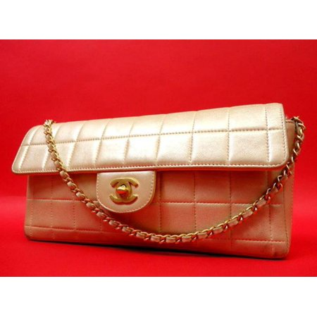 East West Chocolate Bar Flap 224341 Metallic Pearl Quilted Lambskin Shoulder Bag