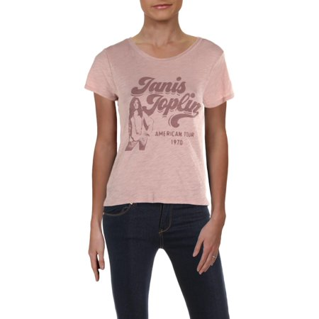 Lucky Brand Womens Janis Joplin Cotton Printed Graphic T-Shirt Pink XS 08 Womens Pink T-shirt