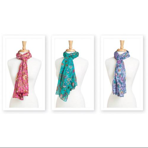 Pack of 3 Assorted Floral Fun Women's Fashion Scarves 72""