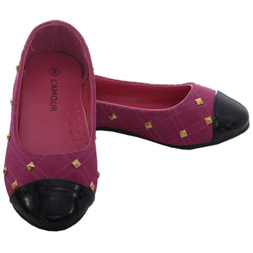 L'Amour Little Girl 4 Fuchsia Suede Patent Gold Stud Ballet Shoe