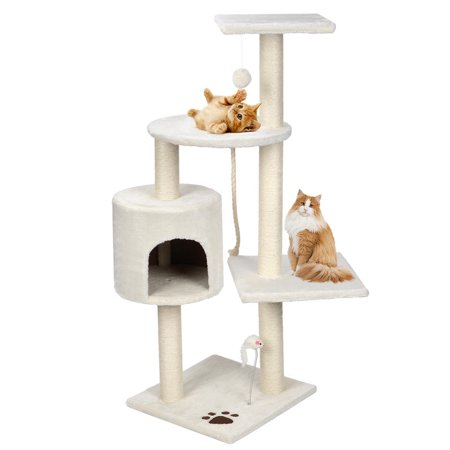 """44"""" Cat Tree with Sisal-Covered Scratching Posts, Multi Level Activity Center Kitty Condo Furniture (White) - image 1 of 8"""