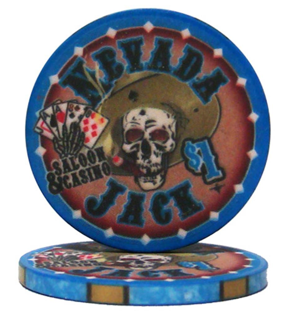 """Roll of 25 $1 Nevada Jack 10 Gram Ceramic Poker Chip"" by BryBelly"