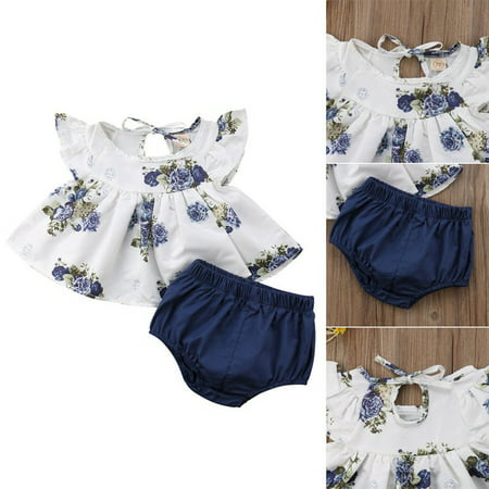 Newborn Infant Kids Baby Girl Floral Tops Dress Shorts Pants Clothes Outfits