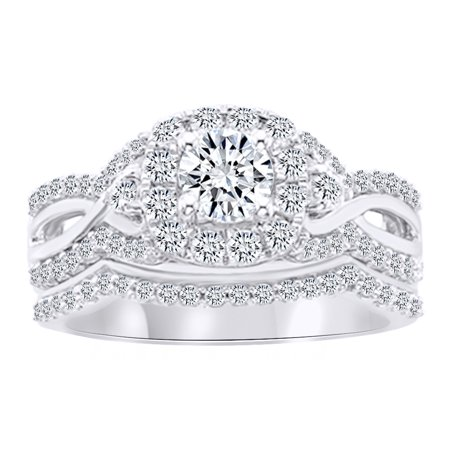 Round Cut White Natural Diamond Halo Engagement Bridal Ring Set In 14K Solid White Gold (1.25 Ct) By Jewel Zone US