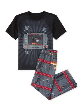The Childrens Place Boys 4-16 Short Sleeve 'Why Do Mornings Start So Early' Camo 2-Piece Pajama Pant Set