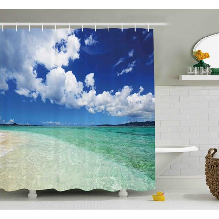 Ocean Shower Curtain, Island Sea Life Wavy Bright Open Sunny Sea Shore Sand Beach Art Print Image, Fabric Bathroom Set with Hooks, 69W X 70L Inches, Bue Teal Cream White, by Ambesonne ()