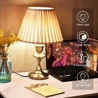 Goplus 13'' Antique Brass Bedside Table Lamp w/ LED Bulb Champagne Office Light