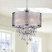 The Lighting Store Indoor 4-light Chrome/ Crystal/ White Shades Chandelier