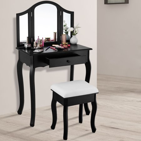 Gymax Makeup Dressing Table Vanity Table Set Cushioned Stool Mirror Wood Furniture Black