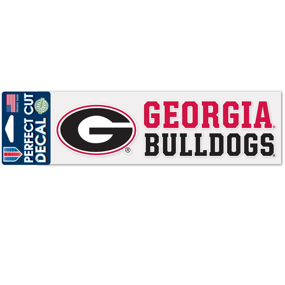 Georgia Bulldogs Official NCAA 3 inch x 10 inch  Die Cut Car Decal by WinCraft