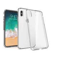 BasAcc iPhone X / iPhone XS Case Clear Crystal Back Hard Panel Cover with Shock-Absorbing TPU Bumper for iPhone XS X - Clear