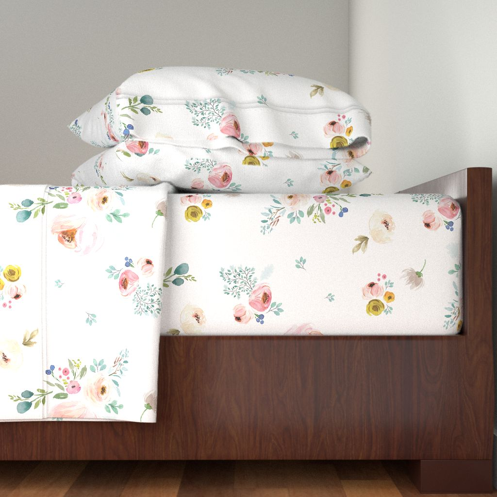 Spring Floral Flowers Baby Girl Nursery 100% Cotton Sateen Sheet Set by Roostery