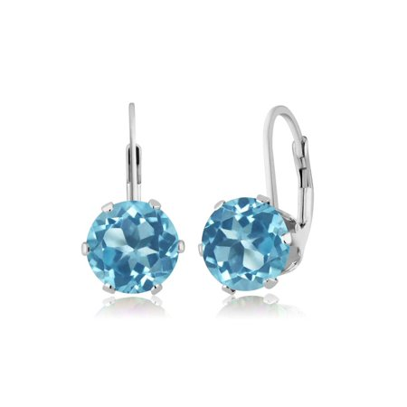 4.40 Ct Round Swiss Blue Topaz 925 Sterling Silver Earrings - image 2 de 2