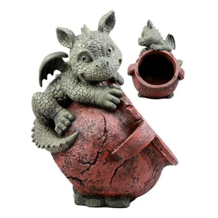 Baby Planter - Ebros Playful Climbing Dragon Baby Planter Pot Mythical Fantasy Home Patio Garden Decor Resin Statue 12.5