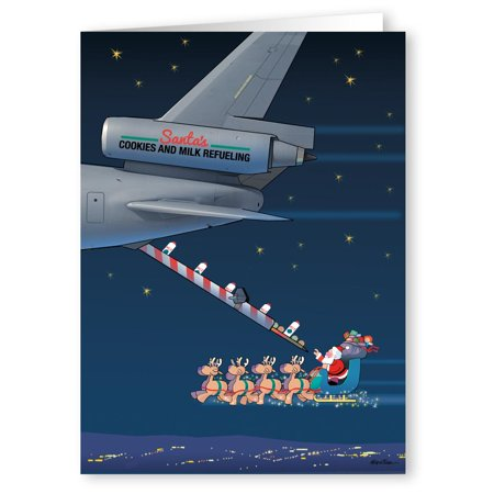 Cookies and Milk Refueling Santa - Funny Holiday Christmas Cards - 18 Cards and 19 Envelopes