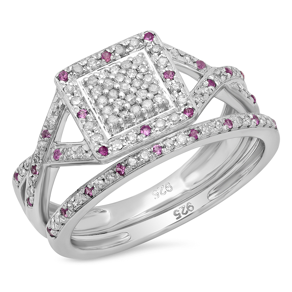 Sterling Silver Round Pink Sapphire & White Diamond Engagement Bridal Ring Set by DazzlingRock