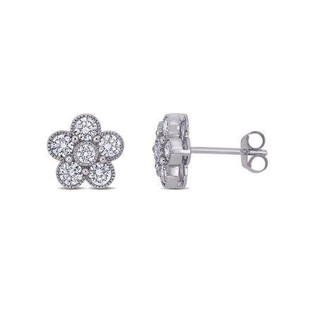 1 Carat T.W. Diamond 14kt White Gold Flower Stud Earrings