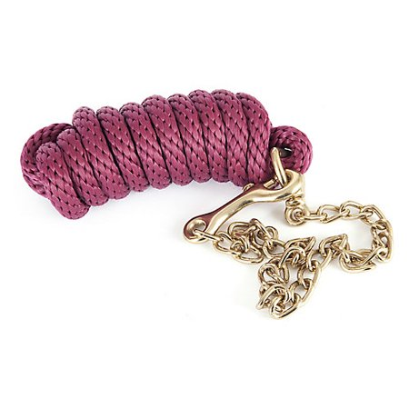 - Basic Poly Lead Rope with Chain Burgundy