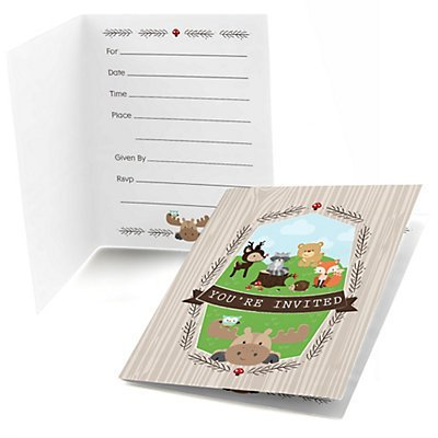 woodland creatures fill in baby shower or birthday invitations set of 24