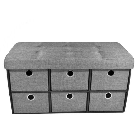 "Achim 6 Drawer Storage Ottoman, Grey Linen, 30"" x 15"" x 15"""