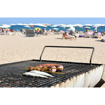 Laminated Poster Grilling Grill Sausage Beach Bbq Supply Print 24 X 36