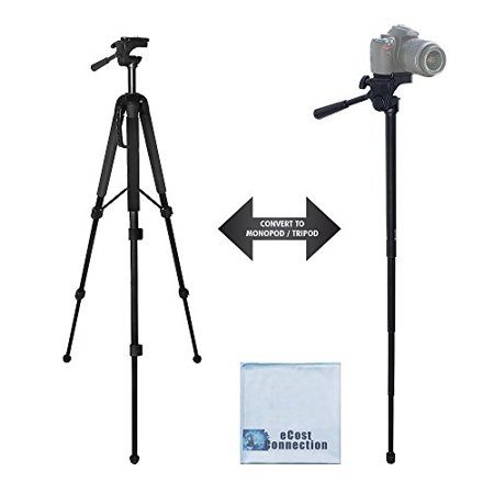 "68"" Elite Series Professional Heavy Duty Convertible Tripod/Monopod for DSLR Cameras & Camcorders + eCostConnection Microfiber Cloth"
