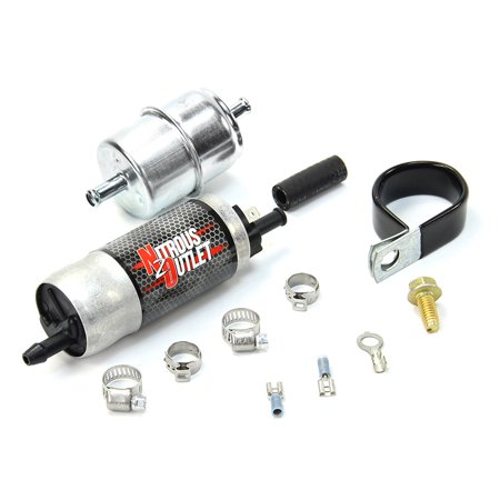 Nitrous Outlet Powersports Electric Fuel Pump- 30 gph @ 6psi, 5/16 barb  inlet and exit  Includes Filter and Clamp