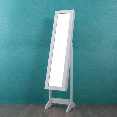 Cloud Mountain Free-Standing Mirrored Lockable Jewelry Cabinet with LED Light