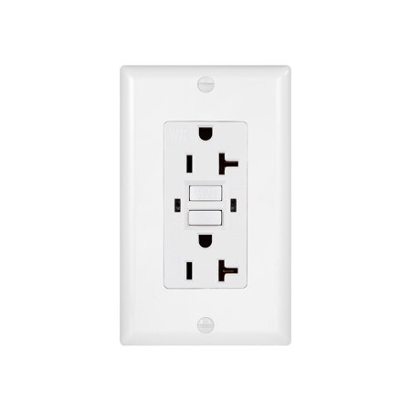 20 Amp GFCI Duplex Outlet Weather Resistant Receptacle with Self-Test/Indicator