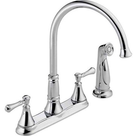 Delta Cassidy Two Handle Kitchen Faucet with Spray, Chrome Control Four Hole Kitchen Faucet