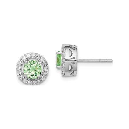 Designer Sterling Silver Rhodium Diamond & Tsavorite Garnet Circle Post Earrings (Length=10) (Width=10) Made In Thailand Polar Circle Earrings