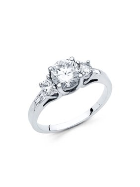 14K Solid White Gold 1.25 cttw Polished Cubic Zirconia Round Cut Three 3 Stone Wedding Engagement Ring, Size 5