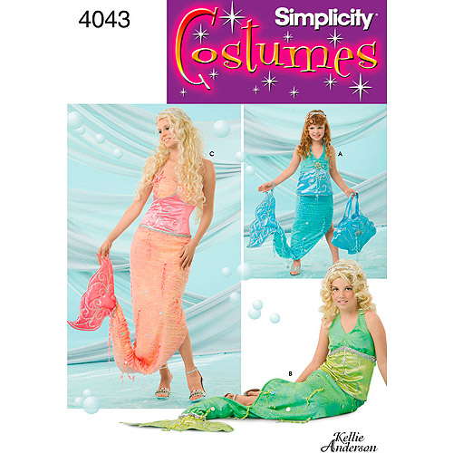 Simplicity Pattern Girl's and Misses' Mermaid Costumes, All Sizes