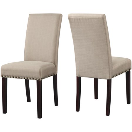 Ean 8473540163696 upholstered dining chairs wheat set of for Dining room head chairs