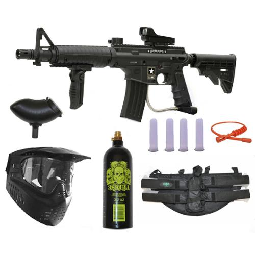 US Army Alpha Black Elite Paintball Marker Gun 3Skull Deluxe 4+1 Package Set by